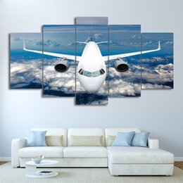 Wholesale abstract ocean art canvas - Canvas Painting Wall Art Abstract HD Decorative Modular 5 Piece Airship Cross Blue Ocean Framework Pictures For Living Room Prints