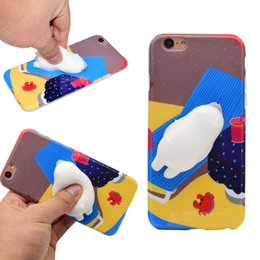 Wholesale Iphone Silicon Cat Cases - For iphone X Cute 3D Squishy Sleeping Cat Paw Rabbit Silicon Cartoon Case For iPhone 8 7 6 5S Plus Back Cover opp bag