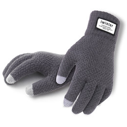 Wholesale Cashmere Knit Gloves - Wholesale-Winter Autumn Men Knitted Gloves Touch Screen High Quality Male Thicken Warm Wool Cashmere Solid Gloves Men Mitten Business