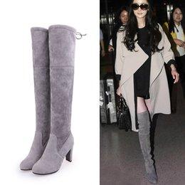Wholesale Knee Length High Heels Boots - 2017 Autumn New Pattern Long winter Boots European Overknee Boots Pi Cu High With Foreign Trade Will Code Length Boots Woman