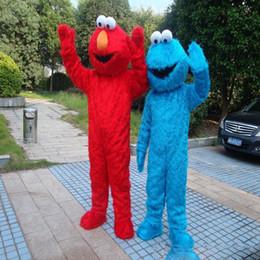 Wholesale Sesame Street Mascots - 2018 Sesame Street Blue Cookie Monster Mascot blue Elmo costume Fancy Dress Adult size Halloween free shipping