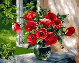 Wholesale Wholesale Acrylic Spray - 2017 DIY oil paintings, window sills, poppies, home furnishing by digital acrylic paints on canvas