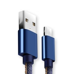 Микро-качество онлайн-Высокое качество 2A Ковбой Micro USB кабель 1 м быстрое зарядное устройство джинсовый Плетеный кабель мобильный телефон USB кабель