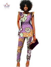 Wholesale African Pants - Dashiki Women 2 Piece Pants Sets Afrikaanse Jurken 2 Piece Outfits Pants Women African Outfits Brand Clothing Plus Size BRWWY517