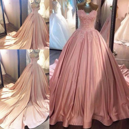 Wholesale Dresses Girl Age 12 - 2018 Pink Quinceanera Dress Princess Appliques Corset Back Sweet 16 Ages Long Girls Prom Party Pageant Gown Plus Size Custom Made