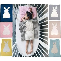 Wholesale Quilt Crochet - 105*75cm Ins Kids Rabbit Ear Blankets Baby easter day 3D Blankets Hand Knit Crochet Bunny Swaddling Infant Cartoon Knitted Bath Towels B11
