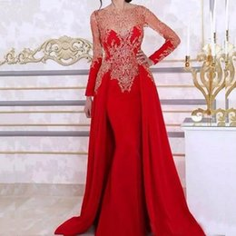 Wholesale Navy Blue Skirt Woman - Long Sleeve Mermaid Evening Dresses with Detachable Skirt Lace Beading Sequin Red Arabic Kaftan Formal Women Evening Gown