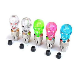 Wholesale car wheel neon lights - Bike Wheel Lights Skull Mix LED Flash Light Neon Lamp Night Bike Car Tire Tyre Wheel Valve Caps Bike Lights CCA9569 3000pcs