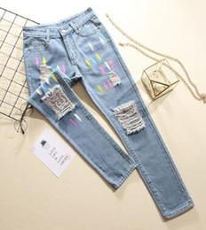 Painted 2018 Frühling Herbst neue gedruckte Jeans lässig plus Größe Frauen  Hosen koreanische dünne Loch Vintage Hosen wx62 994d5f6c53