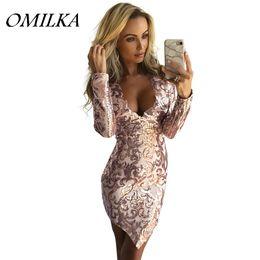 С длинным рукавом онлайн-OMILKA 2017 Осень Зима женщины с длинным рукавом V шеи блесток мини Dress Sexy Gold Silver Glitter блестящий Club Party Bodycon Dress