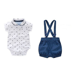 Wholesale Baby Boy Summer Formal Suit - Children's Leisure Clothing Sets Kids Baby Boy Suit Gentleman ClothesT Shirt +pants+Bow for Weddings Formal Clothing