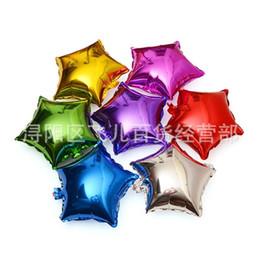 forma de estrella globos de aluminio Rebajas 10 pulgadas globo de helio cinco globos en forma de estrella en forma de estrella de aluminio fácil de inflar Airballoon para la decoración de la fiesta de cumpleaños 0 35fr BB