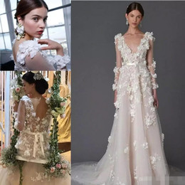 Vestido marquês de noiva on-line-Marchesa 3D Foral Lace Bohemian Praia Vestidos De Noiva 2019 Modest Dubai Árabe HandmaDouble Dividir Elegante Bohemian Garden Barato Vestido De Noiva
