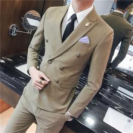 Erkek takım elbise seti 2 takım, iş ince kruvaze yakışıklı profesyonel aşınma, damat groomsmen gelinlik (ceket + pantolon) nereden