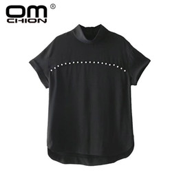 Wholesale Sexy Pearl Blouse - OMCHION Blusas 2018 New Stand Collar Short Sleeve Women Blouses Casual Sexy Pearl Beading Shirts Female Loose Summer Tops QS366