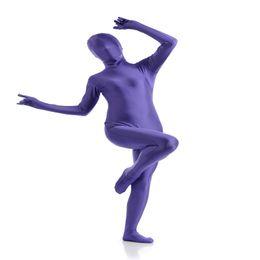 zentai púrpura Rebajas (SCF030) Azul Púrpura Spandex Nylon Lycra Fetiche Zentai Traje Completo Cuerpo Unisex Segunda Piel Transparente Apretado