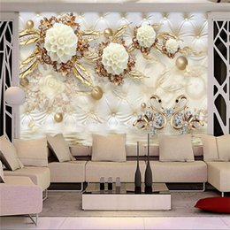 Wholesale Country Style Bags - Custom Photo Wallpaper 3D Fresco Wall Sticker 3d Luxury Gold White Flower Soft Bag Globe Jewelry TV Background Wall