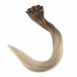 Wholesale Clip Hair Extensions Highlights - Remy Clip Hair Extensions 10Pcs Blond Color #8 Fading To 60 Highlighted 120-140g set Real Human Hair Clip In Extensions Clip ins