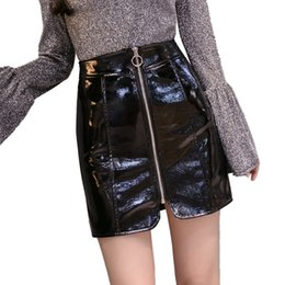 a68343d7d356a 2018 PU Faux Leather Skirt Black high Waist Zip Front Sexy PU Skirts Womens  Elegant Avove Knee Mini Skirt plus size saias