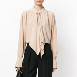 Wholesale silk blouse for summer - Fashion Blouses for Women long Sleeve Casual Solid Shirts for Summer Bow Silk Blouses Lady