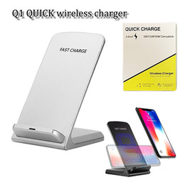Wholesale wireless charger stand - Top quality Qi Fast Wireless Charger 5v 2A 9v 1.3A 10W 2 Coils fast charging stand pad for iphone x samsung s9 plus xiaomi mix2s