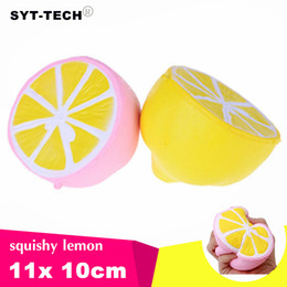 Wholesale fruit pendants - Jumbo Squishy lemon Kawaii Squishy Cute fruit Slow Rising Decoration Phone Strap Pendant Squishes Gift toys doll Decompression Toy 11cm