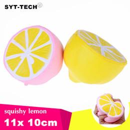 Wholesale lemon charms - Jumbo Squishy lemon Kawaii Squishy Cute fruit Slow Rising Decoration Phone Strap Pendant Squishes Gift toys doll Decompression Toy 11cm