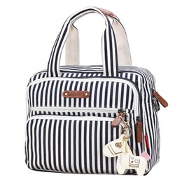 China New Striped Fashion Mom Bag Canvas Tote Bag Mummy Diaper Baby  Organizer Multi Function Travel 5a18c11e48ac3