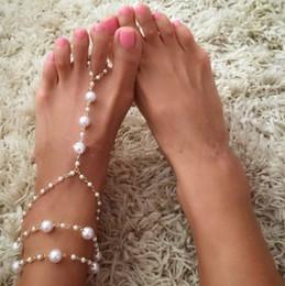 sandali di nozze della spiaggia dell'oro Sconti Cavigliere Beach Wedding di perle finte tono oro catene del piede cavigliera catena Yoga Danza sandali Barefoot Beach