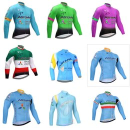Wholesale Astana Cycling Clothes - ASTANA team Cycling long Sleeves jersey Hot New Jerseys long Top Cycling Jerseys Shirts MTB Bike Clothing 840713