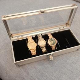 Wholesale Display Aluminium - Men Watch Box Case 6 Slots Wrist Watch Display Box Storage Holder Organizer Display Square Aluminium Hot Worldwide 6
