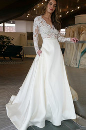 Wholesale Top Skirt Bridal Gowns - Cheap Long Wedding Dress With Illusion Long Sleeves Lace See Through Top Skirt With Pockets Designer A line Bridal Dress Wedding Gowns