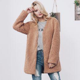 Wholesale Warm Elegant Wool Coats - Naiveroo Warm Winter Women Lamb Wool Coat Long Slim V-neck Faux Fur Coat Elegant Cardigans Casual Winter Outerwear Jackets Coat
