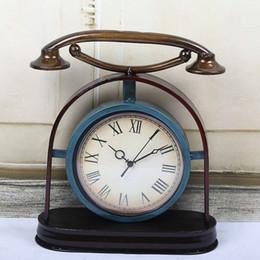 téléphone européen antique Promotion TUDA Livraison Gratuite 12 pouces Européenne Industrielle Style Table Horloge Creative Téléphone En Métal Table Horloge Bureau Salon Décoration
