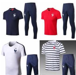 Copa do mundo de duas estrelas treino de futebol de treino francês terno de  treino desgaste slevees 3 4 calças 2018 19 MBAPPE camisa de futebol KIT  calças ... 7ee55fe80fc25