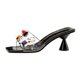 2018 Style D'été Femmes 7cm Talons Hauts Transparents Mules Diapositives Talons Étranges Dames Pantoufles Femmes Sexy Mode Métal Cristal Chaussures ? partir de fabricateur