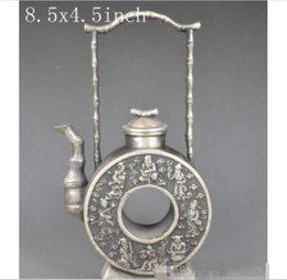 Venda por atacado - China039; s velho artesanal requintado sorte miao prata bule - os oito imortais de