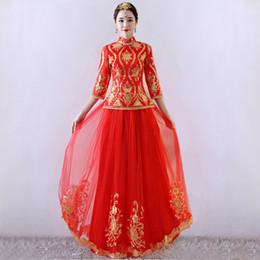ropa china tradicional rojo Rebajas Novia roja de la boda de estilo chino Cheongsam tradicional Lady Long Qipao bordado vestido de noche de las mujeres se casan con ropa S - XXXL