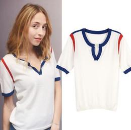 e12355caf542e 2018 new summer t shirts women Retro V neckline hit color knit shirt short  sleeve T-shirt female knitting tees Ice silk knit tops