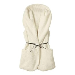 Wholesale White Faux Fur Top - Women Winter Faux Fur Vest Hooded Faux Fur Long Vest 5 Color Casual Solid Female Sleeveless Coat Tops 2017