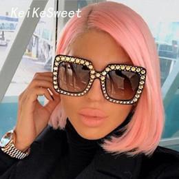 ecdaf8aa99dcc KeiKeSweet Marca Designer De Luxo Italiano Grande Cristal Óculos de Sol  Quadrados Shades Mulheres Óculos De Sol De Grandes Dimensões Retro Top  Rhinestone