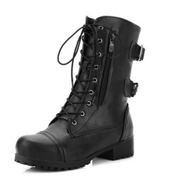 475248a231980 Martin Boots Block Heels Mid Calf Boots Punk Buckle Women Shoes Black  Coffee Lace Up Fashion Ladies Gothic Plus Size 43
