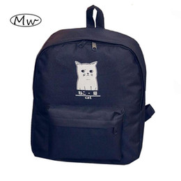 Wholesale Japanese Women Backpack - Wholesale- Cute Cartoon Japanese Cat Printing Backpack Women Canvas Backpack School Bags For Teenager Girls College Style Casual Backpack