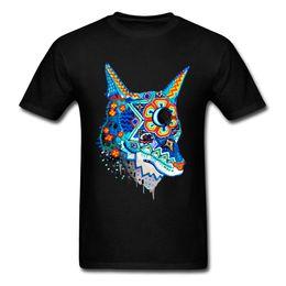 Schwarzer wolfkragen online-Kunst Männer T-Shirt Huichol Wolf Männer billiger billiger T-Shirts Rundkragen Slim Fit Männer Weiß Schwarz Top T-Shirts 3D Wolf Tshirt