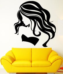 sexy decals wall art Coupons - Removable Beautiful Girl Salon Wall Decals Sexy Woman Vinyl Wall Stickers for living room bedroom home decoration