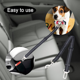 Wholesale Puppies Leash - Dog Leash Reflective Pet Dog Car Seat Belt Safety Travel Elastic Seatbelt for Dog Puppy Adjustable