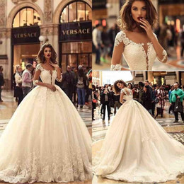 Wholesale Gorgeous Wedding Ball Gowns - 2018 Gorgeous Tulle Ball Gown Wedding Dresses with Half Sleeves Lace Applique Sweep Train Bridal Wedding Gowns Custom Made