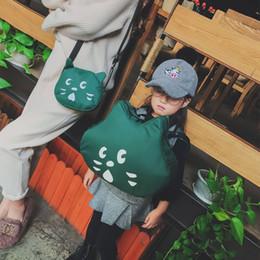 2019 color de la mochila de gato 2018 Madre y Niños Coincidencia de Bolsas de Moda Coreana Cross-body Lovely Cat Mochila Hombros Bolsa Bolsas de Mensajero de Lona 4 Colores bolso rebajas color de la mochila de gato
