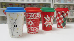 Wholesale Pictures Ceramic - Creative Christmas gifts mug silicone lid cup elk ceramic cup coffee cup snow star picture mugs a109