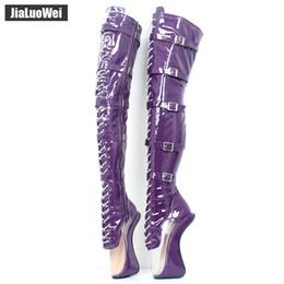 """Fetiche de encaje online-jialuowei 7 """"Super High Heel Hoof Heelless Botas de ballet transparente del dedo del pie con cordones cremallera hebilla correas Sexy Fetish Over-Knee Boots"""